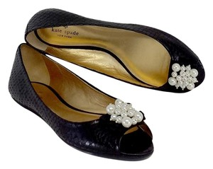 Kate Spade Black Leather Scale Print Pearl Flats