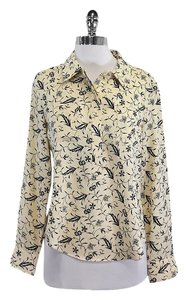 Jill Stuart Cream Navy Button Up Silk Top
