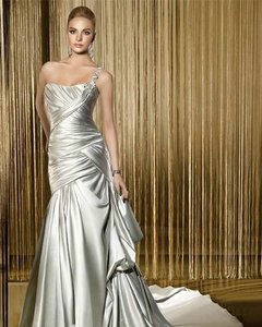 Demetrios Silver/Platinum Satin Bridal Gown -style Gr198-size 14-silver-#pb4 Formal Wedding Dress Size 14 (L)