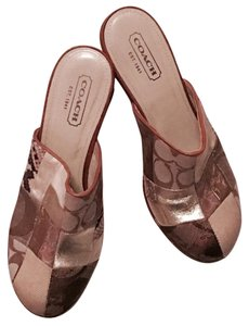 Coach Metallic gold and bronze, brown Mules
