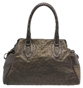Fendi Tote Satchel Ostrich Shoulder Bag