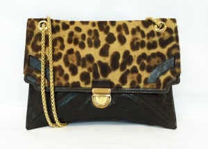 Be&D Karsten Leopard Print Leather Convertible Dark Brown Clutch