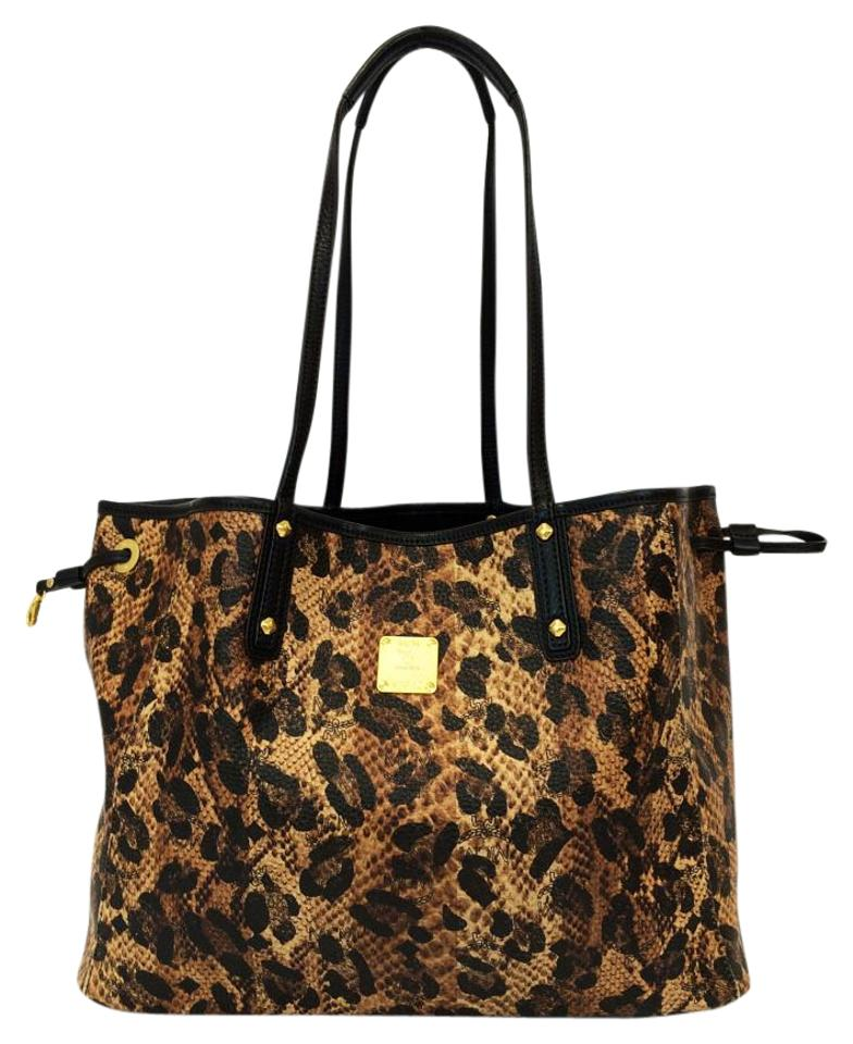 5242f1b64ccb MCM Visetos Coated Canvas Reversible Project Shopper Tote in Leopard Print  Image 0 ...