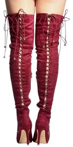 Fall Over The Knee Boot Wine Boots