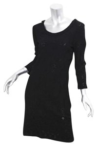 Chanel Knit Long-sleeve Stretch Eyelet Knee-length Shift Dress
