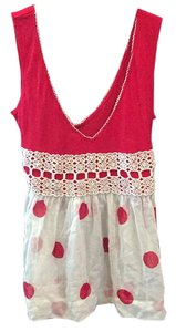 Free People Top Red and white