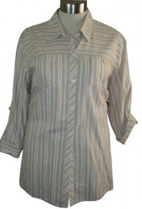 Norton McNaughton Top BEIGE & WHITE STRIPED