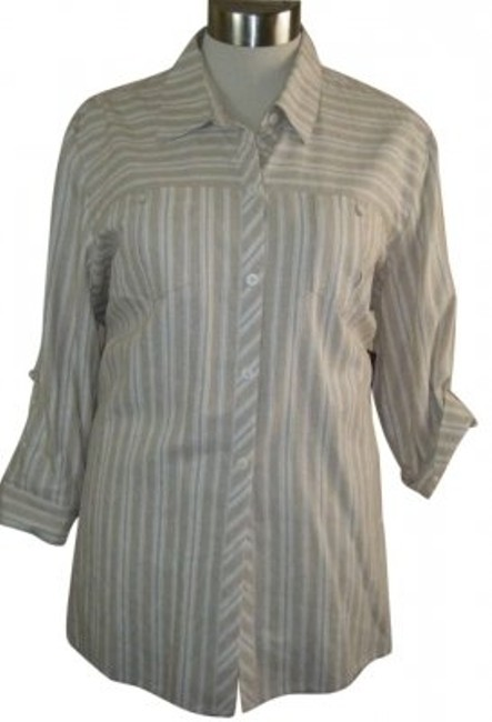 Preload https://img-static.tradesy.com/item/187036/norton-mcnaughton-beige-and-white-striped-2x-convertible-sleeves-linen-blouse-size-22-plus-2x-0-0-650-650.jpg