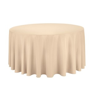 12 - 120 In. Round Polyester Tablecloth Beige