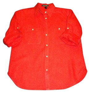 Ralph Lauren Linen Button Down Shirt Red