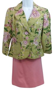 ECI New York ECI NEW YORK FLORAL EMBROIDERED SKIRT SUIT 6P