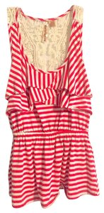 Eyeshadow Tank Lace Shirt Top Red
