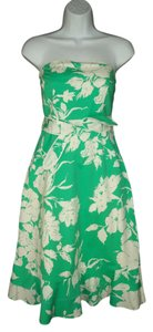Anthropologie short dress Floral Green White Cotton on Tradesy