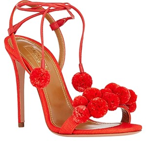 Aquazzura Open Toe Sandal Ankle Strap Red Pumps