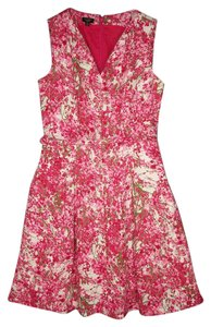 Talbots short dress Linen Floral Pink A-line on Tradesy
