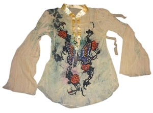 Boston Proper Bohemian Gemstone Butterfly Top Tan