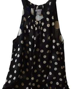 Ann Taylor Silk Sheer Top Black white polka dots