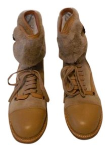See by Chloé Mixed Leather Lamb Fur Collar Tan Boots