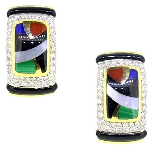 Asch Grossbardt 14K Yellow Gold Multi Color Opal Diamond Earrings 11.6 Grams