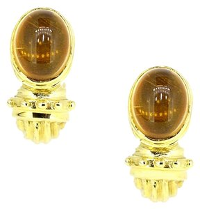 Other 14K Yellow Gold Yellow Citrine Cuff Earrings 7.6 Grams