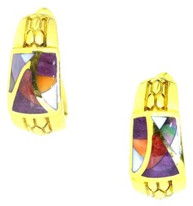 Asch Grossbardt 14K Yellow Gold Enamel Hoop Earrings 10 Grams