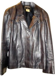 Chanel Rare Leather Gunmetal Dk.Grey Leather Jacket
