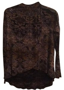 Free People Top Black/brown print