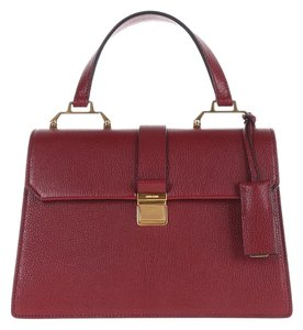 Miu Miu Leather Top Handle Satchel in Red