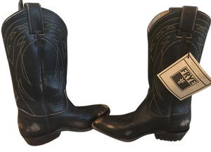 Frye Leather Cowboy Western Black Stone Wash Boots