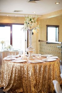 120' Round Gold Sequin Tablecloth Bling Glam Sparkle Wedding Clearance