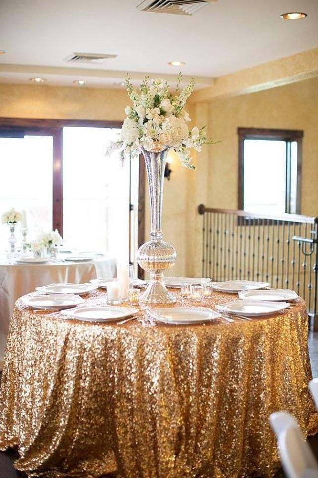 Gold 120 Round Sequin Bling Glam Sparkle Tablecloth