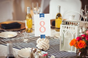 Nautical Wedding Decor: 20 Lanterns And Blue/white Striped Table Runners + More