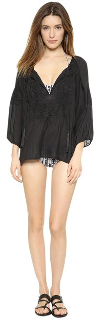Item - Black Peasant Top with Tonal Embroidery Cover-up/Sarong Size OS (one size)