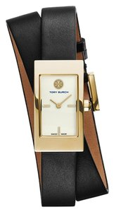 Tory Burch Tory Burch BUDDY SIGNATURE GOLD BLACK LEATHER WATCH TRB2005