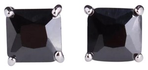 Other New Princess Cut Black Sapphire 18k White Gold Filled Earrings