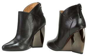 United Nude Wedge Heel Ankle Zip Black Leather Boots