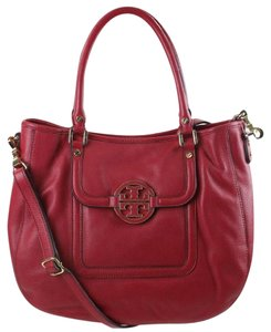 Tory Burch Crossbody Leather Classy Satchel in Red