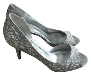 Nina Shoes Open Toe Pump Sparkle Studded Silver Formal