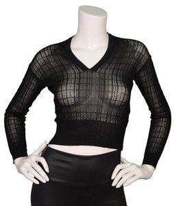 ALAÏA Sheer Crop Long Sleeve Sweater