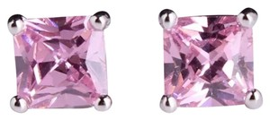 Other New Princess Cut Pink Sapphire 18k White Gold Filled Earrings