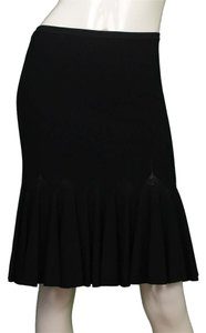 ALAÏA Silk Black Flare Skirt
