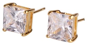 New Princess Cut White Sapphire 18k Yellow Gold Filled Earrings