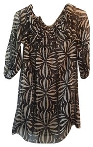 Tracy Reese Zebra Tunic Peekaboo Top Black/white