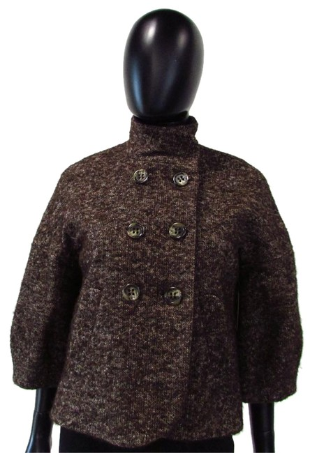 Item - Brown Multi 3/4 Sleeve Double Breasted Jacket Size 4 (S)
