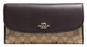 Coach F55202 Outline Signature Checkbook Wallet in Brown
