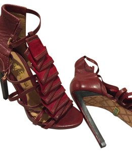 L.A.M.B. Ultra High Strappy Sandals Ruffle Red Pumps