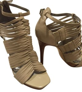 Calvin Klein Ultra High Strappy Sandals Woven Leather Creame Pumps