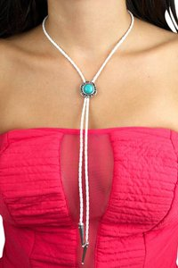Daisy Del Sol Braided Leather Bolo Tie Turquoise Slide