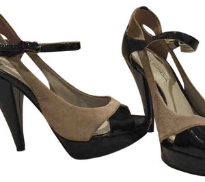 Via Spiga Ultra High Strappy Patent Leather Suede Black and Grey Pumps