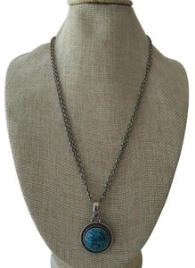 Neiman Marcus Neiman Marcus Sterling Silver Necklace with Turquoise Colored Pendant